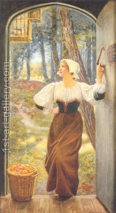 Tithe in Kind by Edward Robert Hughes R.W.S. - Reproduction Oil Painting