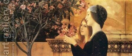 Two Girls with Oleander by Gustav Klimt - Reproduction Oil Painting