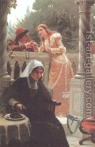 A Stolen Interview by Edmund Blair Blair Leighton - Reproduction Oil Painting