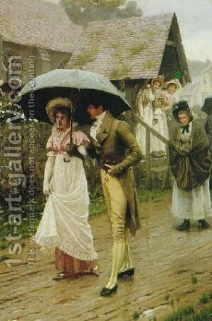 A Wet Sunday Morning by Edmund Blair Blair Leighton - Reproduction Oil Painting