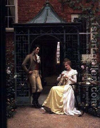 On the Threshold by Edmund Blair Blair Leighton - Reproduction Oil Painting