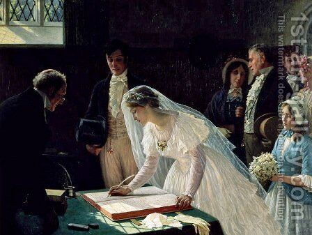 Signing The Register by Edmund Blair Blair Leighton - Reproduction Oil Painting