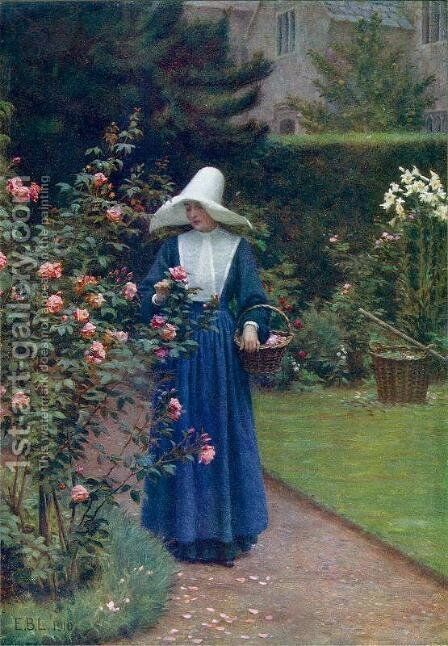 The Roses' Day by Edmund Blair Blair Leighton - Reproduction Oil Painting