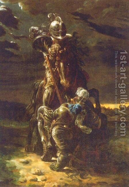The Combat of Two Knights by Daniel Maclise - Reproduction Oil Painting
