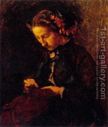 Effie with Foxgloves in Her Hair by Sir John Everett Millais - Reproduction Oil Painting