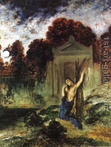 Orpheus on the Tomb of Euridice by Gustave Moreau - Reproduction Oil Painting