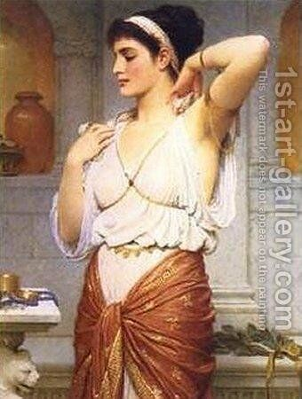 Before the Mirror by Charles E. Perugini - Reproduction Oil Painting
