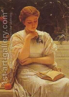 Girl Reading by Charles E. Perugini - Reproduction Oil Painting