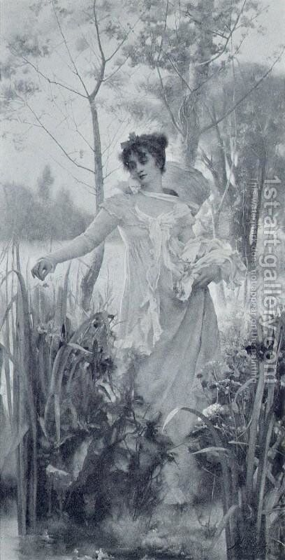 Flowers Plucked and Cast Aside by Henrietta Rae (Mrs. Ernest Normand) - Reproduction Oil Painting