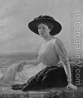 A Portrait in Black and White by Briton Rivière - Reproduction Oil Painting