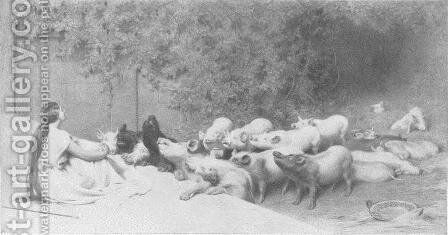 Circe and her Swine by Briton Rivière - Reproduction Oil Painting