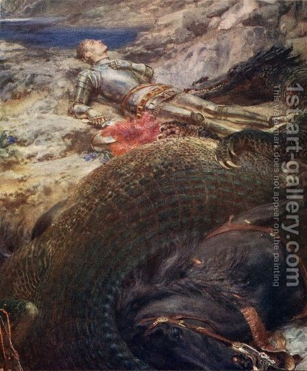 St George and the Dragon by Briton Rivière - Reproduction Oil Painting