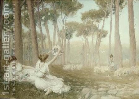 Aphrodite Offering Helen to Paris by Henry Ryland - Reproduction Oil Painting