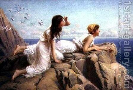 On the Cliffs by Henry Ryland - Reproduction Oil Painting