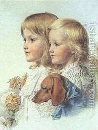 Conrad and Violet Flower by Anthony Frederick Sandys - Reproduction Oil Painting