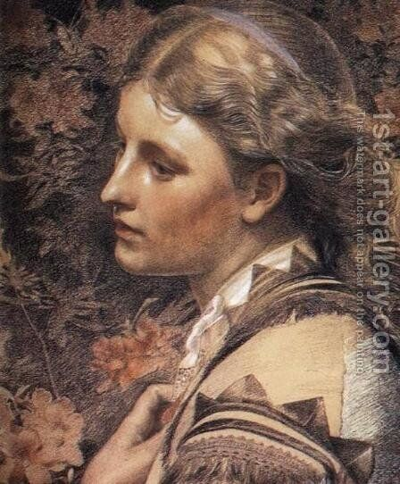 Portrait of Mary Sandys by Anthony Frederick Sandys - Reproduction Oil Painting
