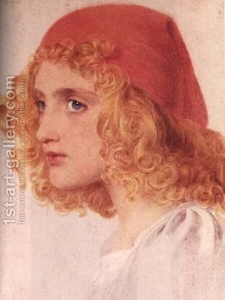The Red Cap I by Anthony Frederick Sandys - Reproduction Oil Painting
