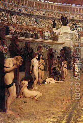 Faithful unto Death, Christianes and Leones! by Herbert Gustav Schmalz - Reproduction Oil Painting