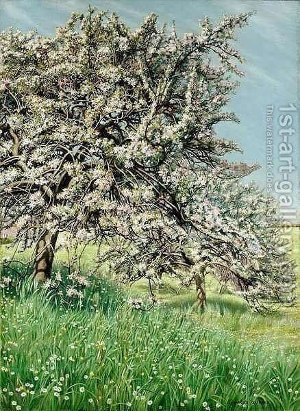 Pommiers Fleuris by Carlos Schwabe - Reproduction Oil Painting