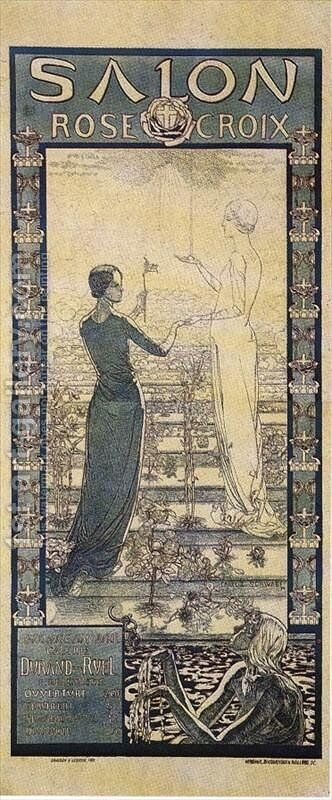Poster of the first Rose+Croix Salon by Carlos Schwabe - Reproduction Oil Painting