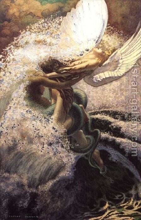 Spleen and Ideal by Carlos Schwabe - Reproduction Oil Painting