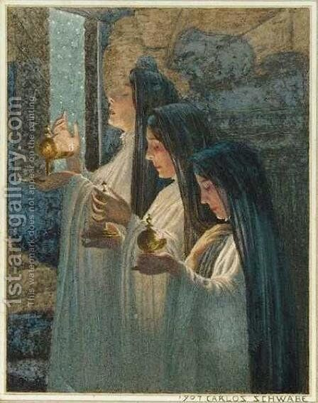 Three Wise Virgins by Carlos Schwabe - Reproduction Oil Painting