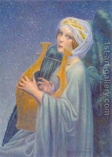 Woman with the lyre by Carlos Schwabe - Reproduction Oil Painting