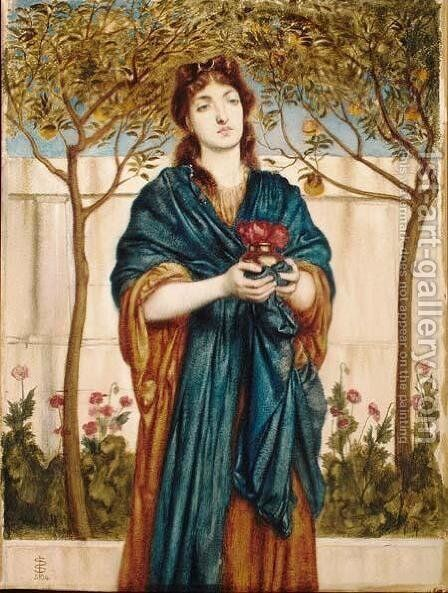 Priestess Offering Poppies by Simeon Solomon - Reproduction Oil Painting
