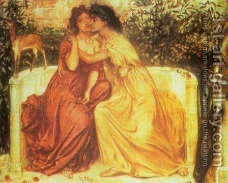 Sappho and Erinna at Mytelene by Simeon Solomon - Reproduction Oil Painting