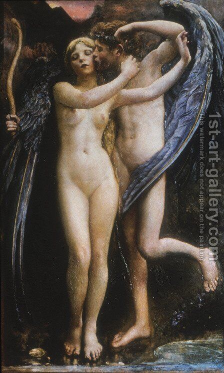Cupid and Psyche by Annie Louise Swynnerton - Reproduction Oil Painting