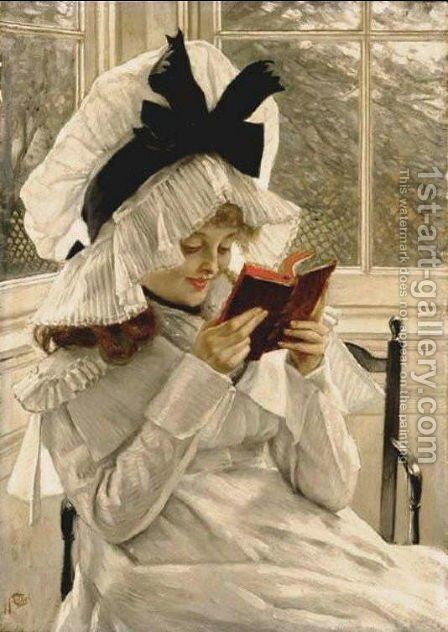 Reading a Book by James Jacques Joseph Tissot - Reproduction Oil Painting