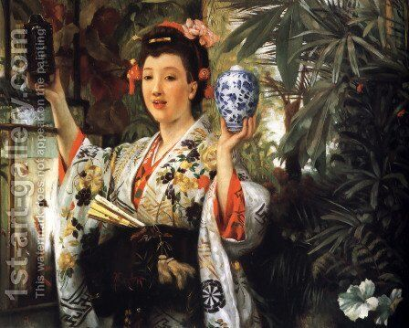 The Japanese Vase by James Jacques Joseph Tissot - Reproduction Oil Painting