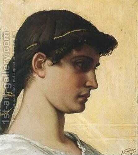 Head of a Roman Maiden by Elihu Vedder - Reproduction Oil Painting