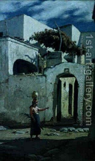 Street Scene at Capri by Elihu Vedder - Reproduction Oil Painting