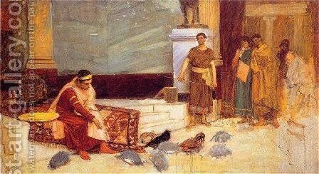 Study for The Favourites of the Emperor Honorius by Waterhouse - Reproduction Oil Painting