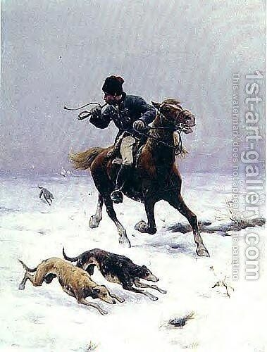 Hunt with Greyhounds by Sigismund Ajdukiewicz - Reproduction Oil Painting