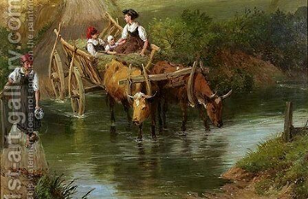 Crossing the Ford by Myles Birket Foster - Reproduction Oil Painting