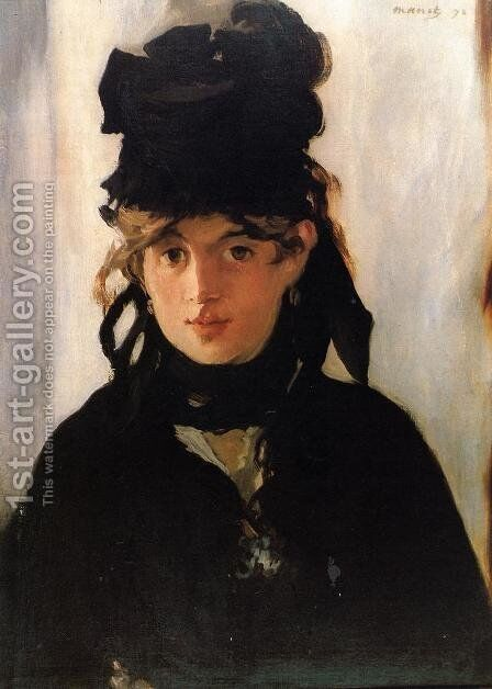 Portrait of Berthe Morisot by Edouard Manet - Reproduction Oil Painting