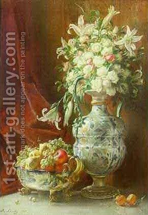 Still Life with Flowers by Angelo Graf von Courten - Reproduction Oil Painting
