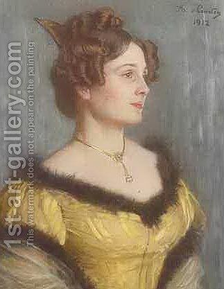 Portrait of a Woman by Angelo Graf von Courten - Reproduction Oil Painting