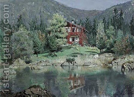 Rosensee by Angelo Graf von Courten - Reproduction Oil Painting