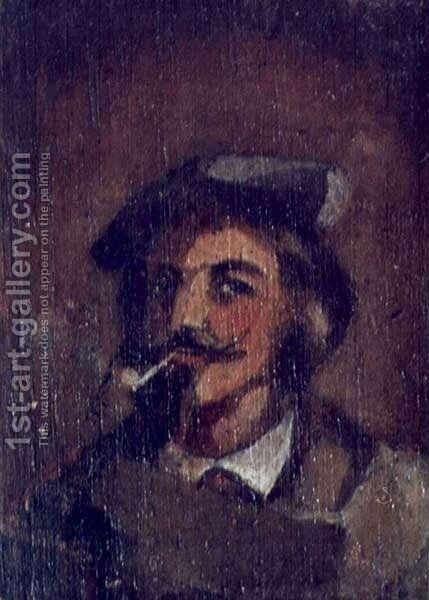 Man with a Pipe. Portrait of Stanislaw Chmielowski by Adam Chmielowski - Reproduction Oil Painting