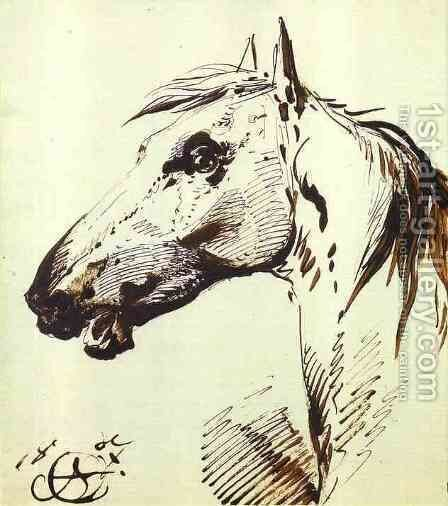 Head of a Horse by Aleksander Orlowski - Reproduction Oil Painting