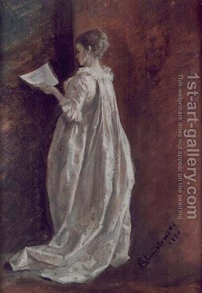Dame with a Letter by Adam Chmielowski - Reproduction Oil Painting