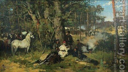 Insurgents' Camp in the Forest by Thaddeus von Ajdukiewicz - Reproduction Oil Painting