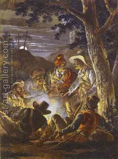 Polish Insurgents in the Forrest at Night by Aleksander Orlowski - Reproduction Oil Painting