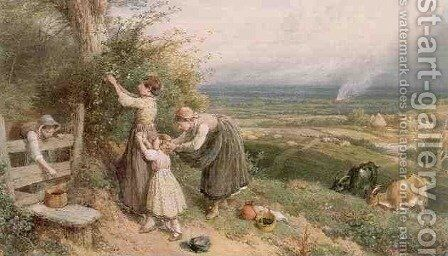 Picking Blackberries by Myles Birket Foster - Reproduction Oil Painting