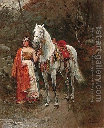 Girl with a Horse by Antoni Piotrowski - Reproduction Oil Painting