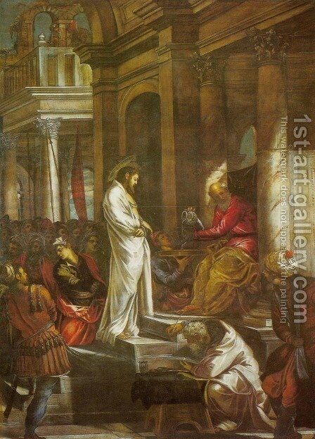 Christ Before Pilate (Cristo davanti a Pilato) by Jacopo Tintoretto (Robusti) - Reproduction Oil Painting