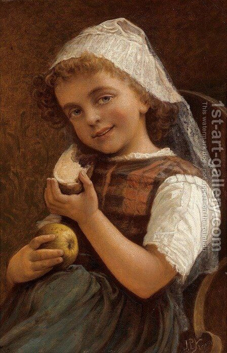 Girl with a Slice of Bread and an Apple by Jan Pomian Kruszynski - Reproduction Oil Painting